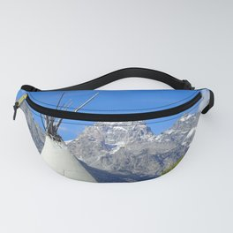 Tipi with snow capped mountains Fanny Pack