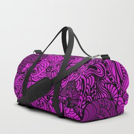 Squirrels Zentangle Drawing Pink Duffle Bag