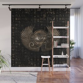 Egyptian Eye of Horus - Wadjet Vintage Gold Wall Mural