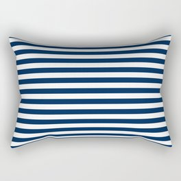 Slate blue and White Thin Stripes - Navy Nautical Pattern Rectangular Pillow