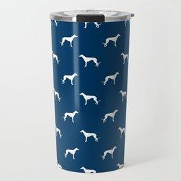 Greyhound blue and white minimal dog silhouette dog breed pattern Travel Mug