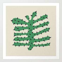 Matisse Inspired Dark Green Shape Art Print