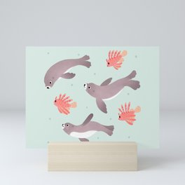 Sea lion & Lionfish Mini Art Print