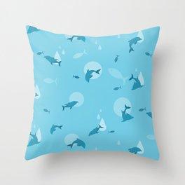 Blue Dolphin Throw Pillow