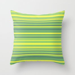 Yellow Lime Candy Lines Throw Pillow
