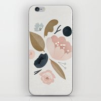 vintage flowers iPhone & iPod Skins featuring vintage flowers; by Pink Berry Patterns