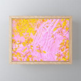 Birch branches in pink and gold Framed Mini Art Print