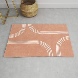 Mid Century Modern 2 - Geometrical Abstract - Minimal Print - Terracotta Abstract - Burnt Sienna Rug