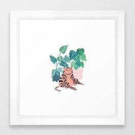 Fat Plant Kitty Framed Art Print