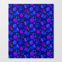 Watercolor Floral Garden in Electric Blue Bonnet Canvas Print