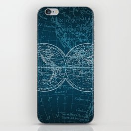 Antique Navigation World Map in Turquoise and White iPhone Skin