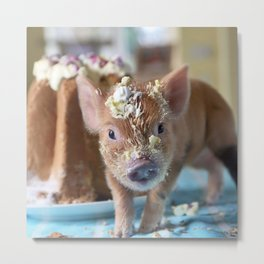 Funny pig and  the cake Metal Print