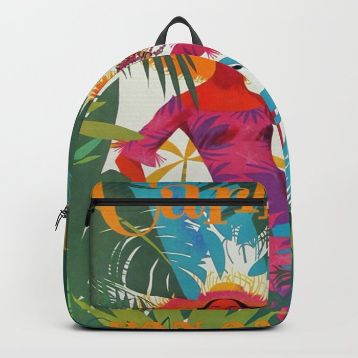 Vintage Colorful Caribbean Tropical Travel Poster Banana Leaves Palm Trees Woman Rucksack