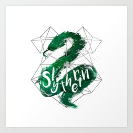 Slytherin Silver Splatter Art Print
