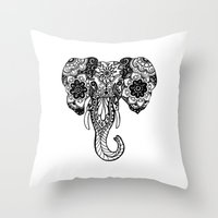 henna Throw Pillows featuring Henna Elephant by Kaitlyn Koehn
