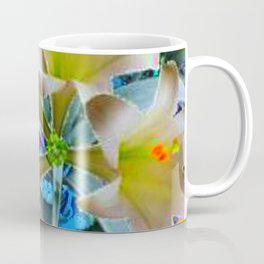 EASTER LILIES FLOWER  BLUE-GOLD FLORAL Coffee Mug
