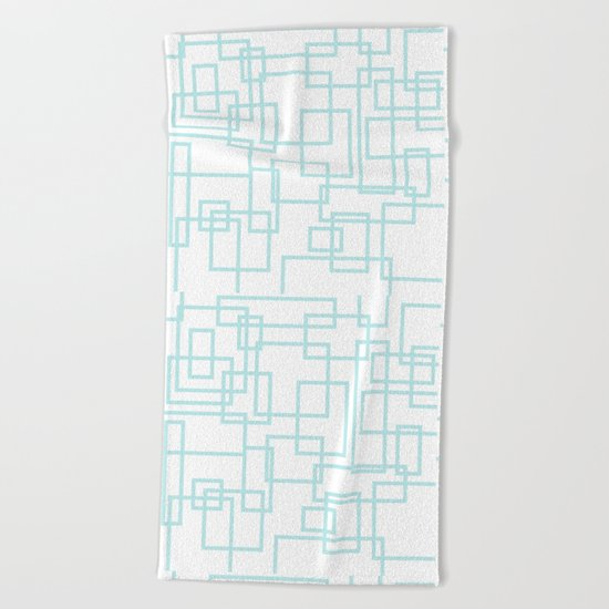 Geometric abstract pattern - light aqua Beach Towel