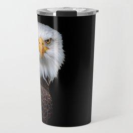 White Head Eagle with black background Travel Mug