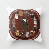 nori Throw Pillows featuring Dwarpacas(Nori) by Lady Cibia
