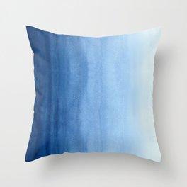 Blue Watercolor Ombré - Horizontal Throw Pillow