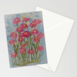 Asters Acrylic Floral Painting by Rosie Foshee for wall decor, and to share by stationary & stickers Stationery Cards