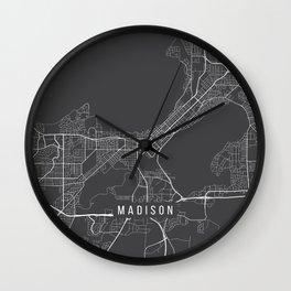 Madison Map, USA - Gray Wall Clock