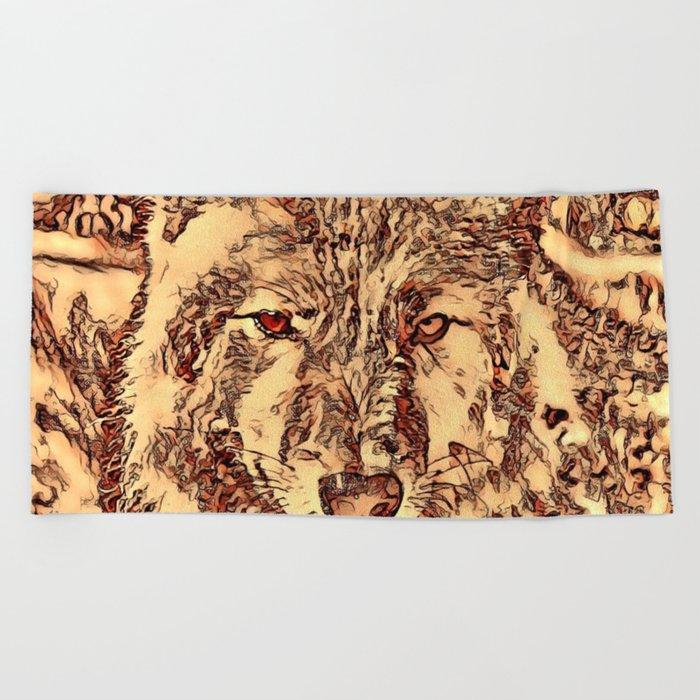 Animal ArtStudio - amazing Wolf Beach Towel