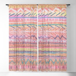 Hand painted Bright Patterned Stripes Sheer Curtain
