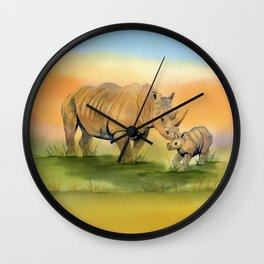 Colorful Mom and Baby Rhino Wall Clock