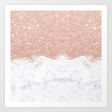 Trendy modern faux glitter rose gold brushstrokes white marble  Art Print