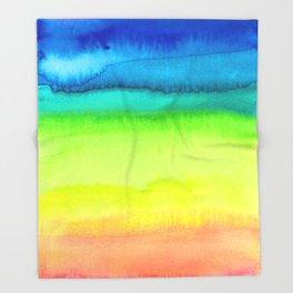 Rainbow Gradient Madness Watercolor by Imaginarium Creative Studios Throw Blanket