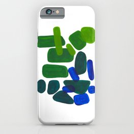 Mid Century Vintage Abstract Minimalist Colorful Pop Art Phthalo Blue Lime Green Pebble Shapes iPhone Case