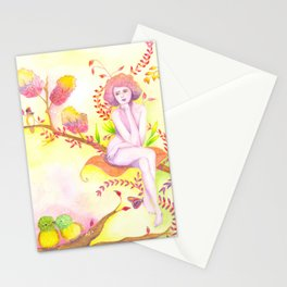 Women thinking and two little birds Stationery Cards