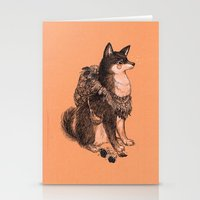 doge Stationery Cards featuring Shibe doge with mushrooms by Yulia Hochulia