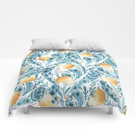 Hand painted blue yellow watercolor bohemian feathers hearts Comforters