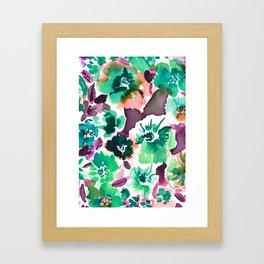 Zoe Floral Sea Green Framed Art Print