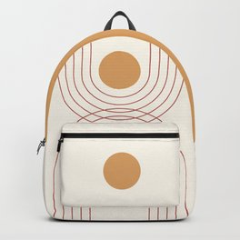 Mid Century Modern Geometric 51 in Terracotta Gold Beige Backpack