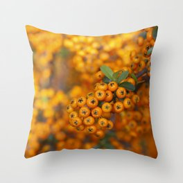 Fall berries in orange Throw Pillow
