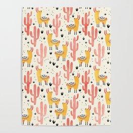 Yellow Llamas Red Cacti Poster