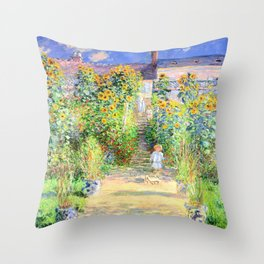 Monets Garden at Vetheuil Throw Pillow