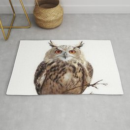 WILDERNESS BROWN OWL IN WHITE Rug