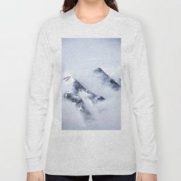 Minimalist MIsty Foggy Mountain Twin Peak Snow Capped Cold Winter Landscape Long Sleeve T-shirt