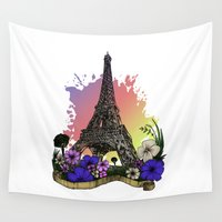 eiffel tower Wall Tapestries featuring Eiffel Tower by Adamzworld