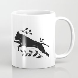 Jumping Dog With Leaves –black palette Coffee Mug