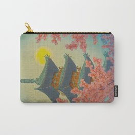 Pagoda, Ueno Park in Spring Evening Kasamatsu Shiro Japanese Woodblock Painting Asian Beautiful Ink Carry-All Pouch