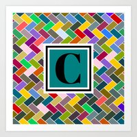 monogram Art Prints featuring C Monogram by mailboxdisco
