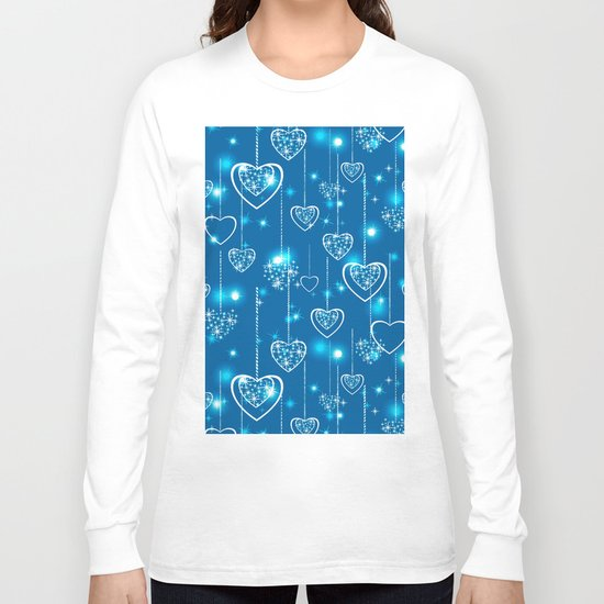Bright openwork hearts on a light blue background. Long Sleeve T-shirt