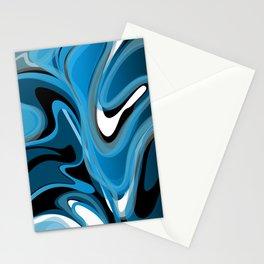 Liquify in Denim, Navy Blue, Black, White Stationery Cards