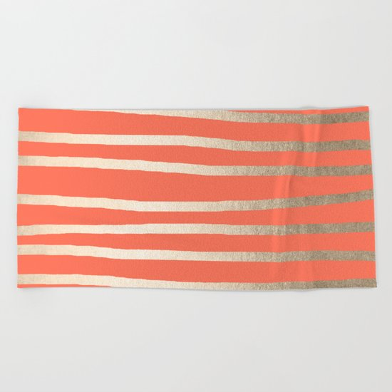 Simply Drawn Stripes in White Gold Sands on Deep Coral Beach Towel