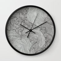 the strokes Wall Clocks featuring Strokes by Sarah Renee G.